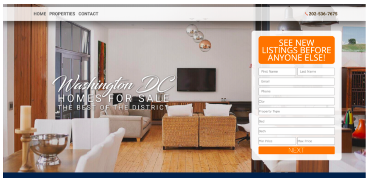 Screenshot of a real estate landing page