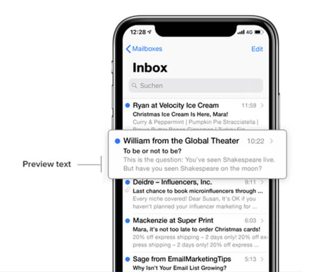 screenshot example email preview text shown in mobile phone
